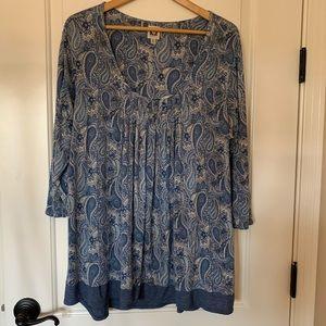 Ann Klein blue tunic top